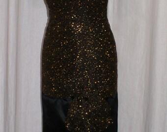 Vintage 1960s off shoulder black and gold hourglass cocktail wiggle dress S VLV rockabilly