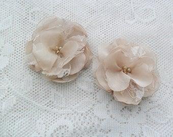Champagne hair pins, Bridal/Bridesmaid hair pins, Wedding hair accessory, Chiffon hair flowers, Bridal hair flowers, YOUR CHOICE COLOR