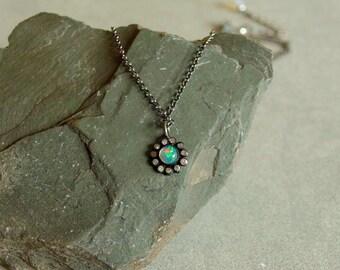 Diamond Opal Necklace, fire opal, genuine diamonds, opal flower charm, oxidized sterling, diamond opal pendant, real diamond opal jewelry