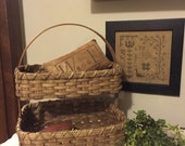 Double Decker Needlework Storage Basket, Primitive Decor, Farmhouse Rustic, Country Cottage, Handwoven Basket, Handmade 2 Layer Basket
