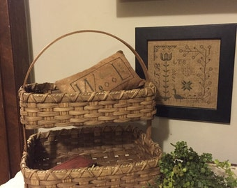 Double Decker Needlework Storage Basket, Primitive Decor, Farmhouse Rustic, Country Cottage, Handwoven Basket, Handmade 2 Layer Basket