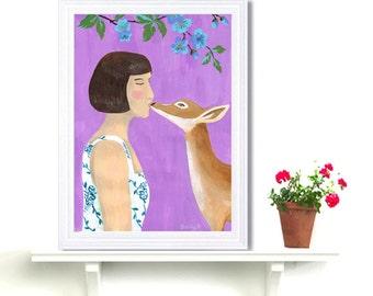 Fantasy Girl Kissing Deer Art Print Acrylic Painting Digital Print Wall Art Fashion Purple Drawing Naive Art Woman Wall Decor Whimsical