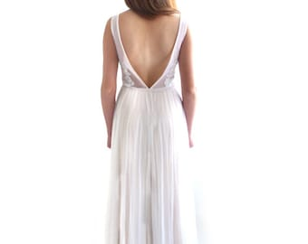 Lace Wedding Dress, Open Back Wedding Dress, Backless , A Line, Simple , Bridal Gown, V Neckline, Boho Wedding , Ethereal, Chic, LUCIE