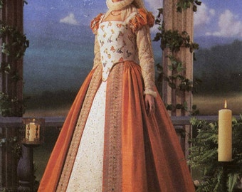 """Historical Dress Costume Sewing Pattern Elizabethan with Farthingale Anachrony UNCUT Size 6 8 10 12 Bust 30.5-34"""" Simplicity 8881"""