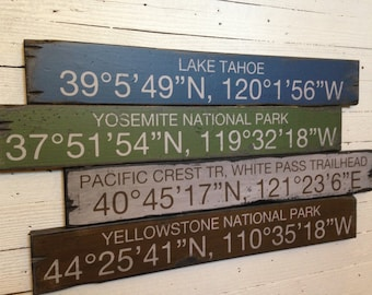 Custom Coordinates - Mountain Theme, Handcrafted Rustic Wood Sign, Mountain Decor for Home and Cabin, 4018