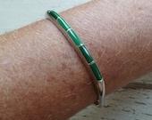 Inlaid Malachite Sterling Silver Cuff Bracelet. Vintage 1980s. Smaller Wrist Size. Signed dp. Green Gemstones Stones. Modern Minimalist.