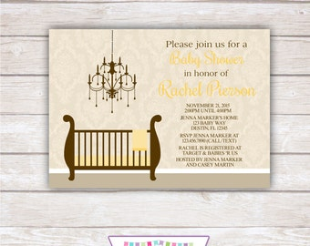 DAMASK BABY SHOWER. Yellow and Brown. Printable Invitation.