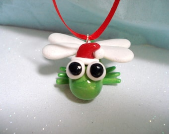 Dragonfly Christmas Ornament - Polymer Clay Christmas Ornament - Christmas Ornament - Bug Christmas Ornaments - Christmas Decoration