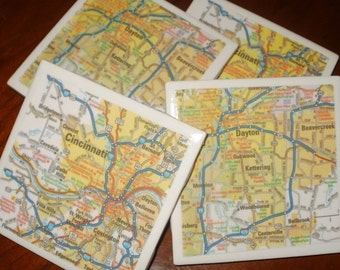 Ohio Map Coasters...Including Cinn. and Dayton...Set of 4...Full Cork Bottom...For Drinks or Candles...Great Gift