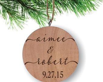 Couples Names with Date Ornament, Personalized Ornament, Engraved Wooden Gift Tag, Engraved Wooden Christmas Ornament