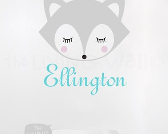 Fox Face Personalized Name, Nursery Baby Wall Art, Woodland Decals Kids Style, Wall Stickers Nursery Decor, Custom Baby Name, Boy Name Decal