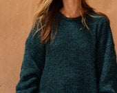 90s simple TEAL black textured grunge SLOUCHY warm sweater