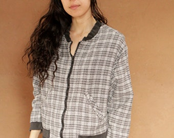 grunge mid 90s PLAID black & white bomber fabric lightweight JACKET vintage coat