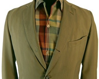 1950s Palm Beach Sack Cut Sport Coat Narrow Lapel Wash and Wear Summer Weight  40 41