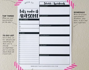 Desk Planner, Weekly Planner, Get Sht Done, Digital Download, Printable Planner, Make Today Awesome, Daily Planning Worksheet