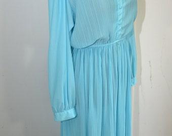 Sky Blue Vintage Dress Long Sleeve -M- L