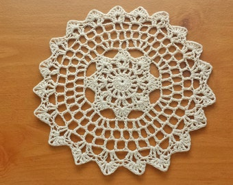 Round Crocheted Doily Table Topper, 7 inch Crochet Mandala, Great for Holidays, Weddings, Dream Catchers, and More