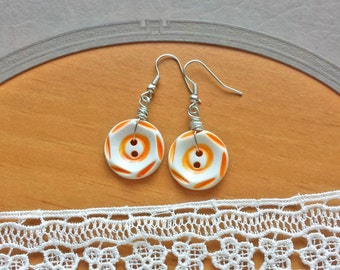 Orange Earrings with Vintage Painted Buttons
