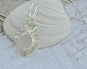 HOLD FOR BILL Genuine Sea Glass Necklace Pure White in Argentium Sterling Silver