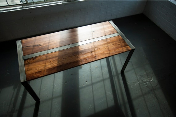 Walnut Desk Or Dining Table Steel Frame Custom