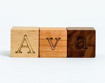 Your Choice of 3 Letters Wooden Blocks // Create a Custom Initials or Word with these Natural, Organic Wood Block Toys for Baby Boy or Girl