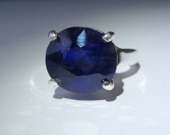 Natural Cornflower Blue Sapphire In Sterling Silver Ring, 8.96ct. Size 7