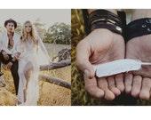 Boho Wedding . boho wedding decor . boho feathers . white feather with word .  boho wedding gift . feather art . boho decor