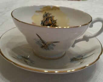 Stanley Tea Cup and Saucer; Featuring A Clipper Ship and Seagulls circa 1953-1962  DR