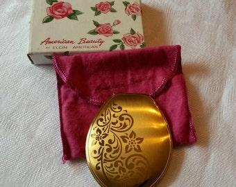 Elgin American Powder Compact; American Beauty; Featuring a Tear Drop Shape circa 1940's-1960's   DR193