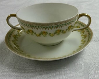 Four Limoges Tea Cups and Saucers; Rare Bouillon Sets by Charles Martin  circa early 1900's to mid 1930's  -DS