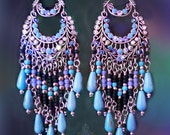 Long Blue and Silver Bohemian Chandelier Earrings, Large Beaded Turquoise Gemstone Earrings, Colorful Exotic Jewelry, Clip-On Option