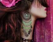 "5"" Long Beaded Bohemian Chandelier Earrings, Exotic Gypsy Jewelry, Bronze Hoop, Orange, Green, Purple, Red, Blue or Aqua, Color Choices!"