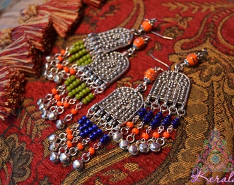 """FREE SHIP! Antique Silver Moroccan Arch Chandelier Earrings, 4"""" Ethnic Dangle, Orange, Blue, Chartreuse Olive Green, Belly Dancer Jewelry"""