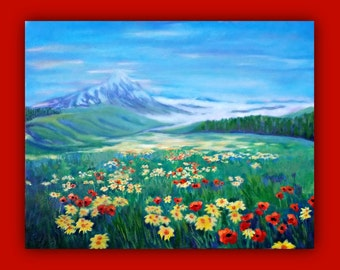 """Oil Painting - """"HIDDEN IN A VALLEY"""" - Original Oil/Acrylic Painting, Flowers, Poppies, Daisies, field, Mountain, snow, valley, trees, sky"""