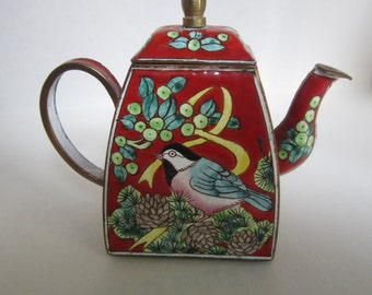 Vintage Miniature Enamel Red Teapot with Bird