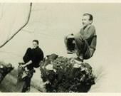 "Vintage Photo ""Manly Owls"" Teen Boy Snapshot Photo Old Antique Photo Black & White Photograph Found Photo Paper Ephemera Vernacular - 191"