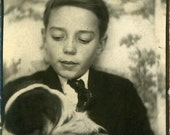 """Vintage Photobooth """"The Puppy Booth"""" Dog Photo Booth Arcade Old Antique Photo Black & White Photograph Found Paper Ephemera Vernacular - 73"""