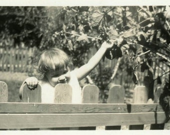 "Vintage Photo ""Little Noisy Neighbor"" Snapshot Photo Old Antique Photo Black & White Photograph Found Photo Paper Ephemera Vernacular - 80"