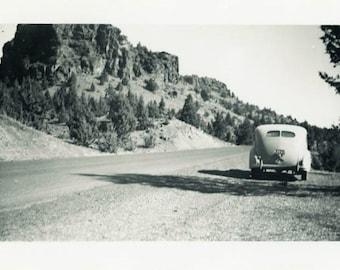 """Vintage Photo """"Picturesque Parking"""" Car Snapshot Photo Old Antique Photo Black & White Landscape Photograph Found Photo Paper Ephemera - 180"""