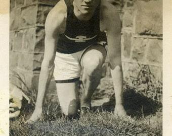 "Vintage Photo ""Freddie the Flash"" Track Snapshot Photo Antique Photo Black & White Photograph Found Photo Paper Ephemera Vernacular - 143"