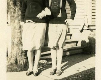 "Vintage Photo ""Best Buds"" School Girl Snapshot Photo Old Antique Photo Black & White Photograph Found Photo Paper Ephemera Vernacular - 152"