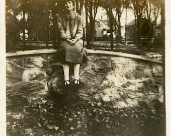 "Vintage Photo ""The Park Visitor"" Woman Snapshot Photo Old Antique Photo Black & White Photograph Found Photo Paper Ephemera Vernacular - 197"