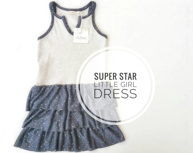 Gray Dress for little girls, Sleeveless dress, Stars Dresses, Little Silver Stars Dress, Party Dress with volants