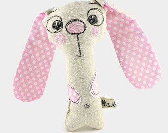 Personalized Baby Girl Gift, Baby Rattle, Bunny Toy, Personalized Stuffed Animal, Stuffed Bunny Rabbit, Infant Toy, Baby Shower Gift