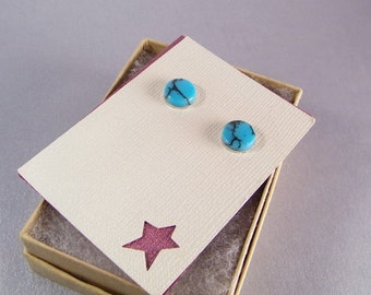 Turquoise Blue Studs SHIPS IMMEDIATELY Handmade Round Blue Post Earrings Blue Studs Turquoise Blue Birthday Gifts for Her Gifts for Him