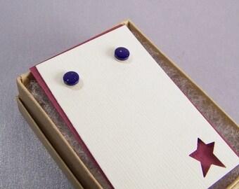 Starry Night Earrings SHIPS IMMEDIATELY Handmade Small Dark Blue Post Earrings
