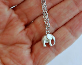 Silver Elephant Charm Necklace, tiny small animal lucky matte pendant simple minimal birthday gift gifts