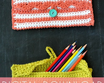 Simple Pencil Pouch Beginner Crochet PDF Pattern - Instant Download