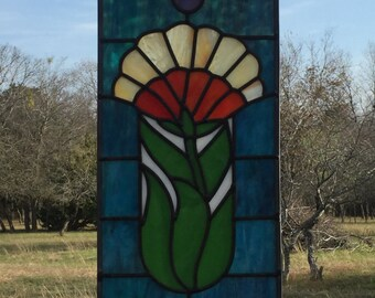 Leaded Stained Glass Art Deco Panel