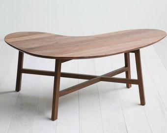 Solid Walnut Kidney Bean Coffee Table